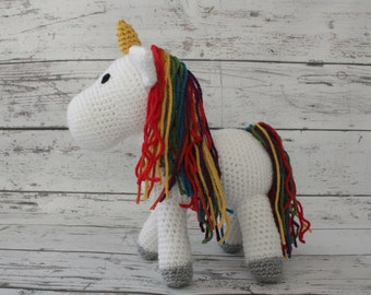 Sparkles the Unicorn, Crochet Unicorn Stuffed Animal, Unicorn Amigurumi, Plush Animal, MADE TO ORDER