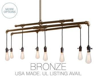 Industrial Rustic Metal Pipe Chandelier Light- Bronze