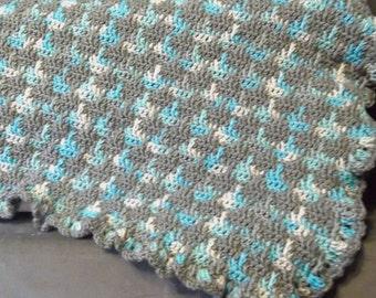 "Blue ""n"" Gray Crochet Baby Blanket"