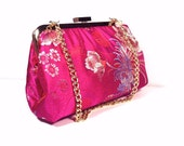 Hotpink Printed Purse, Clutch Bag 8 X 4 X 2.5 w/ 20 inches Gold Chain Handle