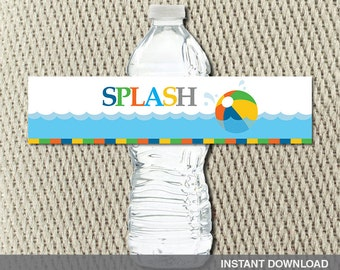Water Bottle Labels - Pool Party - Make a Splash - Beach Ball - Happy Birthday - Instant Download - DIY Digital Decorations
