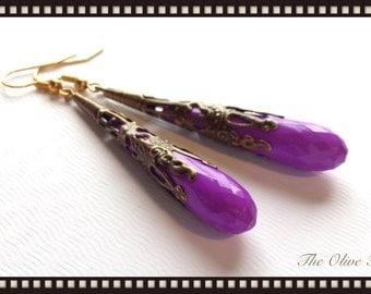 Long Purple Drop Earrings Antique Gold Patina Filigree Earrings Victorian Jewelry Teardrop Earrings Long Drop Earrings