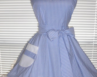 Retro Inspired Apron Blue and White Gingham Full Circular Skirt - Ready to Ship