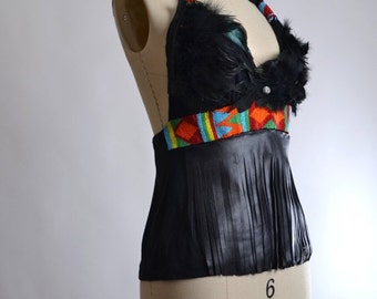 SUMMER SALE Feather and Leather Halter Top - Festival Clothing - Native American Clothing - Festival Fashion - Beaded Hippie Halter Top