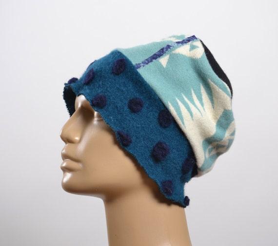 Women's  Hats - Repurposed Wool Hat - WInter Hats -  Blanket Hat - Winter Hats - Warm Hats