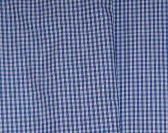 Fabric Turkish cotton check gingham blue and white