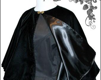 1800's Civil War Victorian Black Velvet Cape Cloak Beautiful