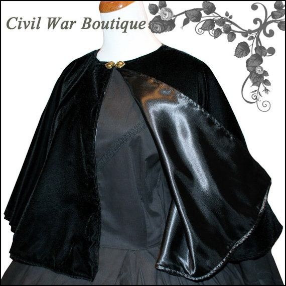 Vintage Coats & Jackets | Retro Coats and Jackets 1800s Civil War Victorian Black Velvet Cape Cloak Beautiful $249.00 AT vintagedancer.com