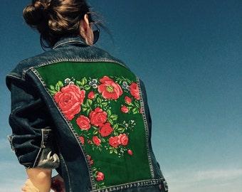 Superb Custom Made Vintage Denim Jacket Embellished with Russian Shawl - Boho Chic Upcycled Floral Denim