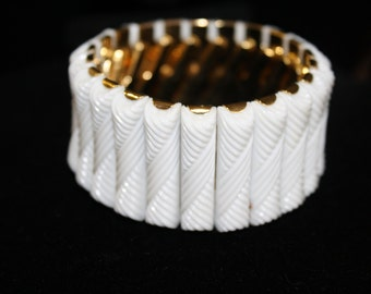 Wide Expandable Cuff Bracelet, White and Gold, Vintage