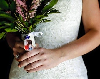 Custom Double-Sided Wedding Bouquet Photo Charm, Wedding Accessories- Silver Pewter