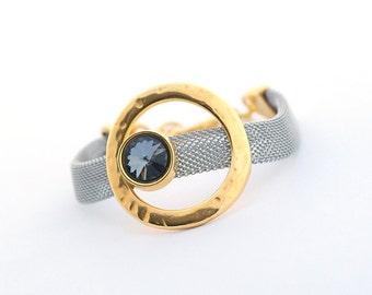 Modern Women Bracelet, Minimalist Bracelet, Cuff Women Bracelet,  Geometric Jewelry, Swarovski Crystal, gift for her