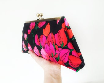 Floral Pattern, Framed Clutch, Upcycled Fabric, Brass Frame, Purse, Evening Bag, Vintage Style Clutch, Kisslock, Reclaimed Fabric, Remnant