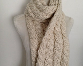 Keep Toasty Warm This Winter in this Hand knitted Cable Scarf-Hand knitted-Made in New Zealand-Houston Cream-Ruby