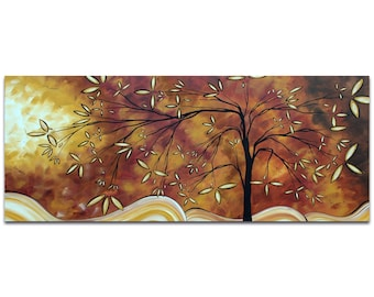 Landscape Painting 'The Wishing Tree' by Megan Duncanson - Abstract Tree Art Whimsical Neutral Tones on Metal or Acrylic