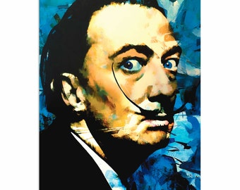 Pop Art 'Salvador Dali Apparatus Man' by Artist Mark Lewis, Colorful Salvador Dali Painting Limited Edition Giclee Print on Metal or Acrylic