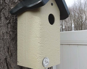 Bluebird house, PVC Bird house,contemporary,cedar roof,clean out, virtually maintenance free, post mount hanging birdhouse new design unique