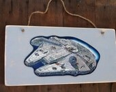 Reserved for Katy Getkin Star Wars Sign Millennium Falcon Metal on Wood Sign Star Wars Sign Star Wars Metal Sign on Wood