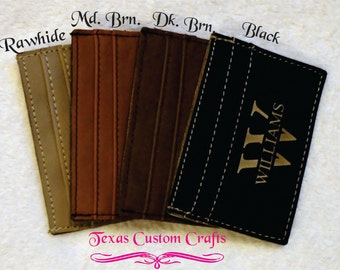 Personalized Leatherette ID Wallet with Money Clip on Back, Personalized Card Wallet, Credit Card Wallet