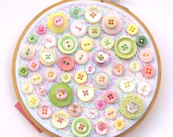 MARSH MY MALLOWS, Embroidery Hoop Art With Vintage Buttons In Shades Of Pastel Pink, Lime, Lemon