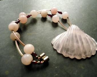 Chain, Rose Quartz, Garnet, shell, jewelry, pink, Red