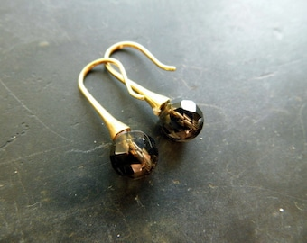 Earring, earrings, smoky quartz, sterling silver, silver, gold plated jewelry, grey, Brown