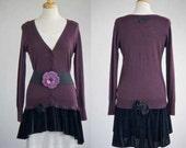 Women's clothing upcycled sweater cardigan dress velvet with belt purple black M