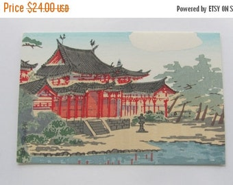 SALE Antique Woodblock, Japanese Postcard, Original form 1940s, Red Temple, Printed by Tokuriki, Signed, Ready to Frame,