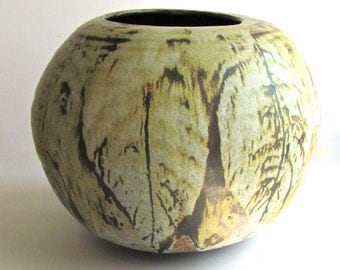 Floyd Kemp Vase, Mid Century Studio Pottery, Green Leaves, Large Rustic, Earthy Pot,  Matte Glaze, Rustic Pottery, Signed by Artist