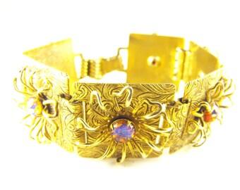 Art Glass Opal Bracelet Stamped Gilt Brass Metal Flower Design Dragons Eye Art Glass Stones Bookchain Style Construction