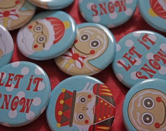 Christmas holiday  pinback buttons, badges. Set of four, Santa, Gingerbread man, nutcracker, snowman.