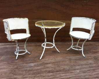 Miniature Metal Table and Chairs