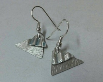 Argentium silver earrings, triangle earrings in silver