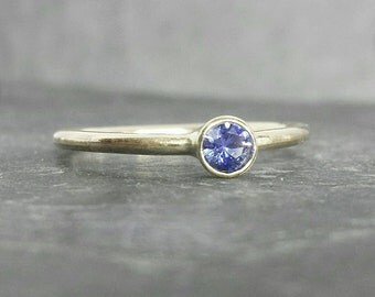 True Blue -  9ct 9k blue sapphire bezel set ring, alternative engagement ring, yellow gold skinny band UK