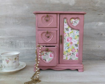 Pink Distressed Jewelry Box