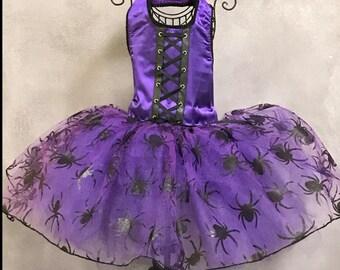 HALLOWEEN:  Purple Spider Dog Party Dress