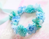 baby flower crown, blue floral crown, flower girl flower crown, flower girl floral crown, floral headband for babies, blue flower crown