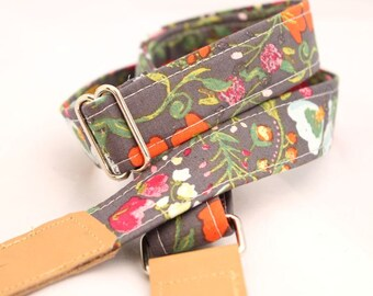 Ukulele Strap - Botanical Garden - Leather Ends and Optional Tie Lace