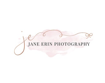 Photography Logo and Watermark, Rose Gold and Watercolor Initials Handwritten Calligraphy Script Font Logo Design 275