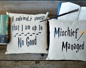 "I Solemnly Swear/Mischief Managed Pillow  Cover Set, Harry Potter inspired, 16x16"", or 18x18"", Natural Linen"