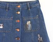 high waist DENIM EM skirt