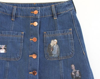 high waist DENIM EM skirt