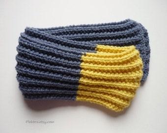 Indigo blue & yellow scarf - Teenager neck warmer - Boys knitted scarf