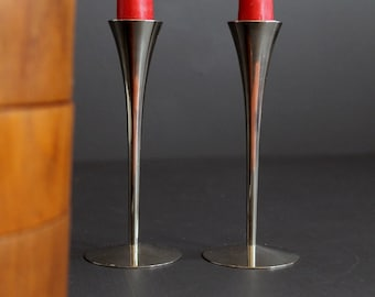 Vintage Mid Century Modern Stainless Steel Candle Stick Holder Fluted Set MCM Chrome
