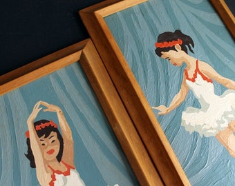 Vintage Paint By Number Framed Picture Set of Ballerina Girls In Tutus Retro PBN
