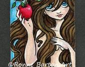 SALE Eve big eye girl biblical art original ATC ACEO acrylic painting ooak by Ronne Barton