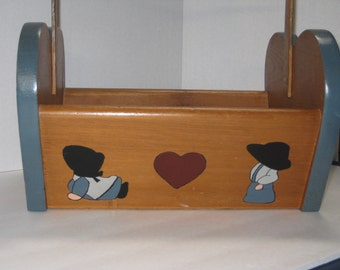Vintage 1970's Wood Basket With Hand Painted Amish Children