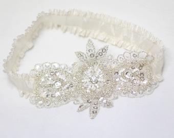 Garter, ivory garter, wedding garter, bridal garter, keepsake garter