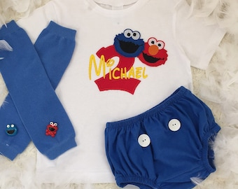 2-pcs Elmo coockie monster Sesame street Inspired Birthday boys outfit-Include personalised Top and bottom