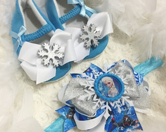 Blue Baby shoes and Matching headband set